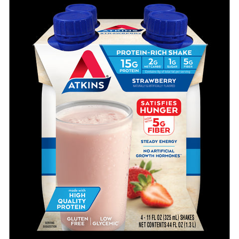 Atkins Gluten Free Protein-Rich Shake, Strawberry, Keto Friendly, 4 Count (Ready to Drink)