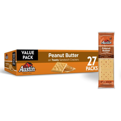 Austin, Sandwich Crackers, Peanut Butter on Toasty Crackers, Value Size, 27 Ct, 37.2 Oz