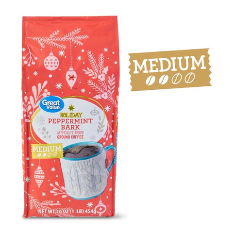 Great Value Peppermint Bark Ground Coffee, 16 oz
