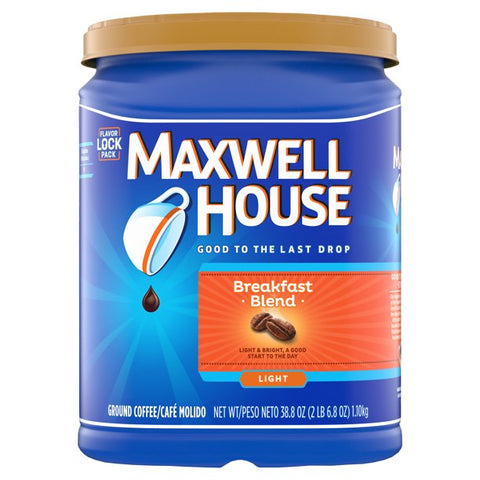Maxwell House Light Roast Breakfast Blend Ground Coffee, 38.8 oz Canister