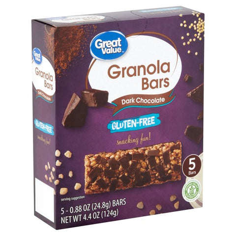 Great Value Gluten-Free Dark Chocolate Granola Bars, 0.88 oz, 5 Count
