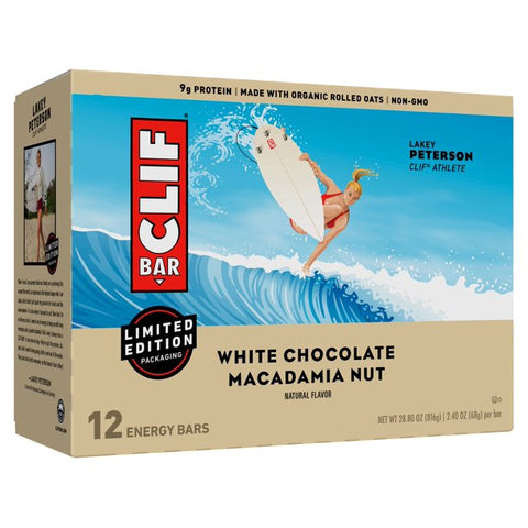 CLIF Bar Energy Bars, White Chocolate Macadamia Nut, 9g Protein Bar, 12 Ct, 2.4 oz (Packaging May Vary)