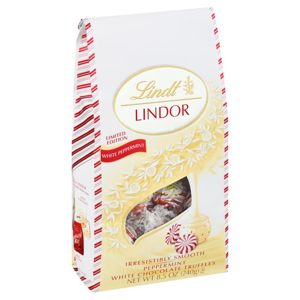 Lindt Lindor White Chocolate Peppermint Chocolate Candy Truffles, 8.5 oz Bag