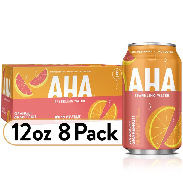 AHA Sparkling Water, Orange Grapefruit Flavored Water, Zero Calories, Sodium Free, No Sweeteners, 12 fl oz, 8 Pack
