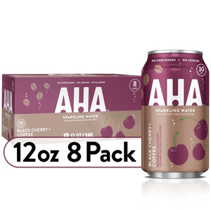AHA Sparkling Water, Black Cherry + Coffee Flavored Water, with Caffeine & Electrolytes, Zero Calories, Sodium Free, No Sweeteners, 12 fl oz, 8 Pack