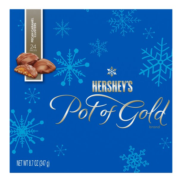 Hershey's Pot Of Gold Pecan Caramel Clusters Chocolate Christmas Candy Box, 24 Ct, 8.7 Oz.