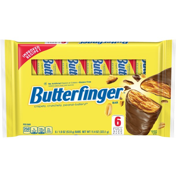 BUTTERFINGER Full Size Peanut Chocolate Candy, 6 Bars