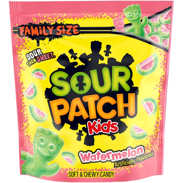 SOUR PATCH KIDS Watermelon Soft & Chewy Candy, Family Size, 1.8 lb Bag
