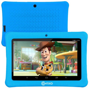 "Contixo 7"" Kids Tablet Android 8.1 with WiFi 16GB Kids Place Parental Control 20+ Education Learning Apps, Tablet for Toddlers Children Infant Kids w/Kid-Proof Protective Case (Blue)"