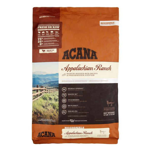 Acana Appalachian Ranch Grain-Free Dry Cat Food, 12 lb