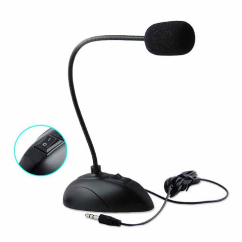 Flexible Stand Mini Studio Speech Microphone 3.5mm Plug Gooseneck Wired Mic for PC Desktop Notebook