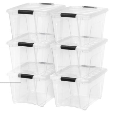 IRIS USA 32 Qt Clear Plastic Storage Box with Latches, 3 Pack