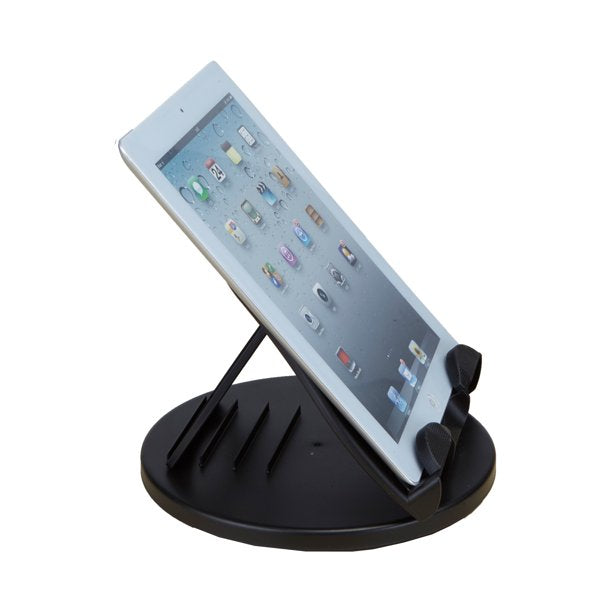 Mind Reader Adjustable Tablet Stand for iPad Mini, iPhone, Kindle, Samsung and Other Tablets, Stand Spins - Black