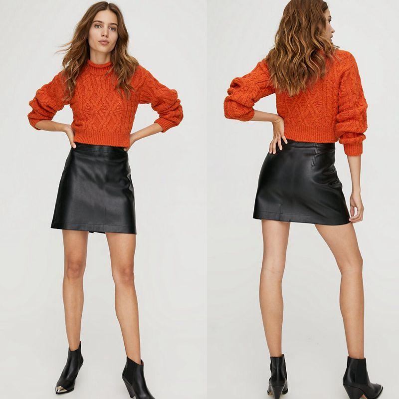Stretch-Leather Bodycon Mini Skirt