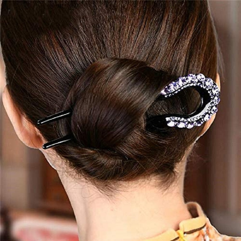 U-shape Crystal Rhinestone Double Prong Hair Pin Stick
