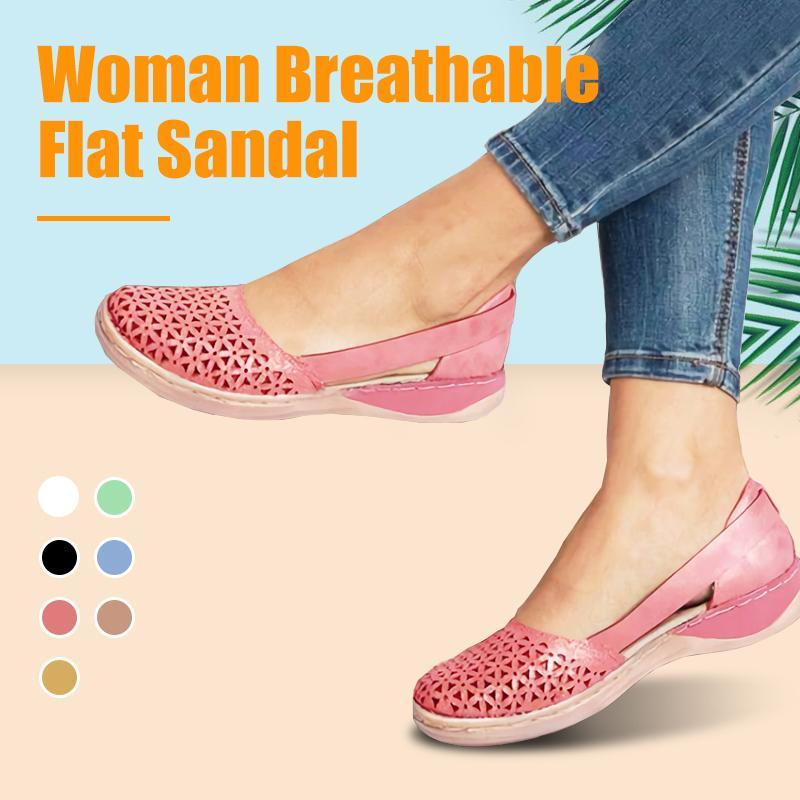 Woman Round-toe Hollow-out Breathable Flat Sandal
