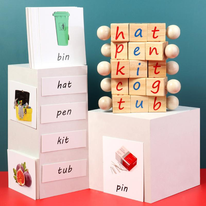 Montessori Alphabet Wooden Educational Phonetic Reading Blocks