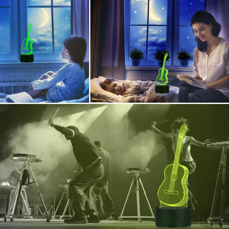 3D  guitar lamp 7 Color Changing Night Light