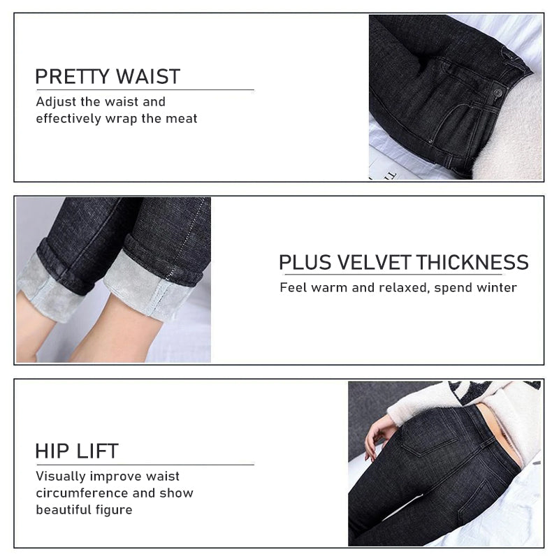 Women Plus Fleece Warm Jeans