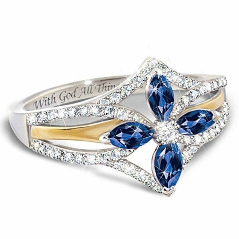 The Promise Of Faith Sapphire And White Topaz Cross Ring