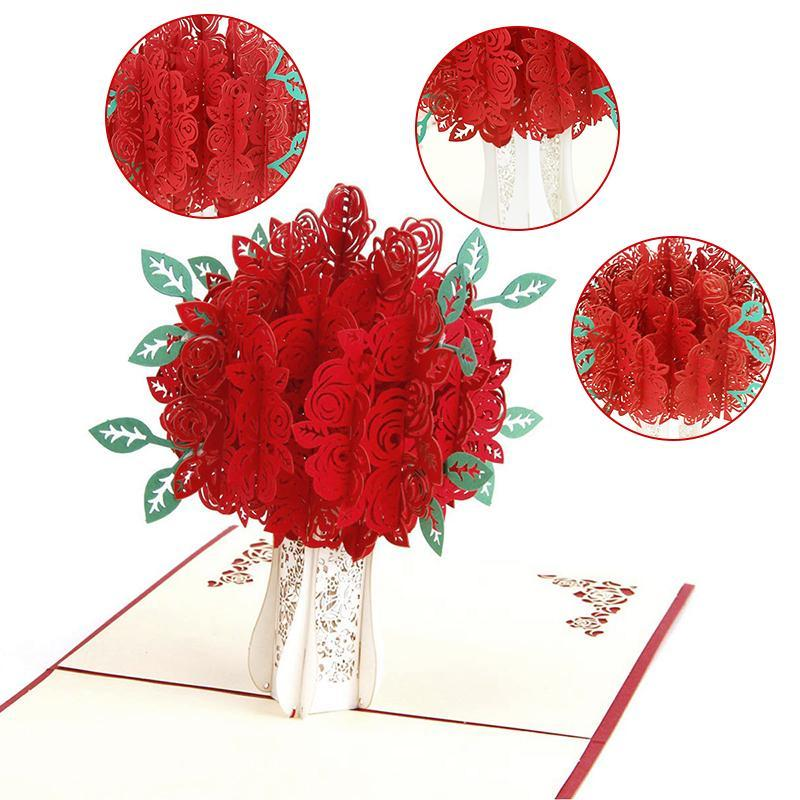 Rose Bouquet Pop-up Card for Valentine's Day