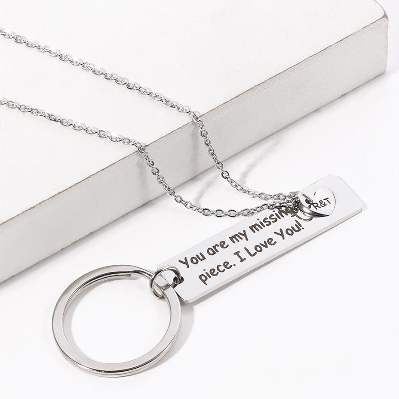 Couple Keychain Necklace Set