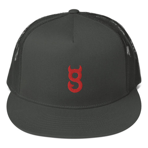 MESH BACK FLAT SNAPBACK RED LOGO