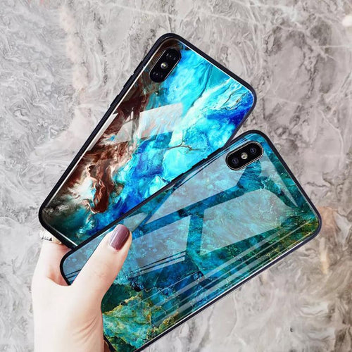 iPhone X Soothing Sea Pattern Marble Glass Back Case