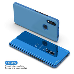 Galaxy A20 Mirror Clear View Flip Case [Non Sensor Working]