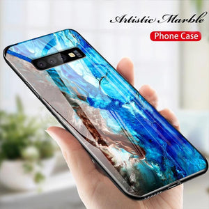 Galaxy S10 Plus Soothing Sea Pattern Marble Glass Back Case