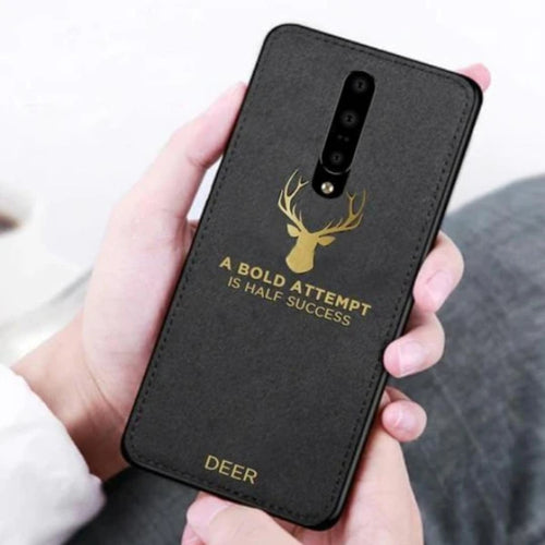 OnePlus 7 Pro Cover Luxury Gold Textured Deer Pattern Soft Case