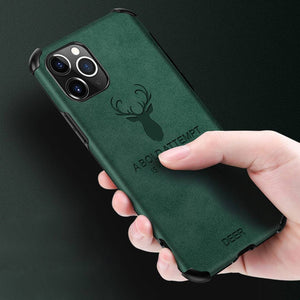 iPhone 11 Series Shockproof Deer Leather Texture Case