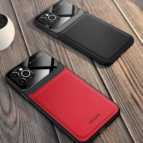 iPhone 11 Pro Sleek Slim Leather Glass Case