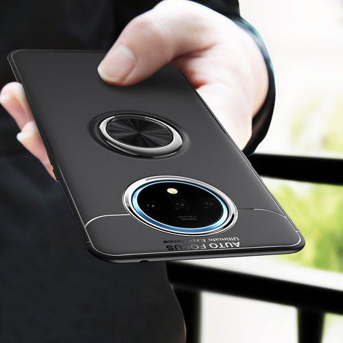 OnePlus 7T Cover Metallic Finger Ring Holder Matte Case