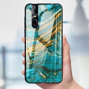 Vivo V15 Soothing Sea Pattern Marble Glass Back Case
