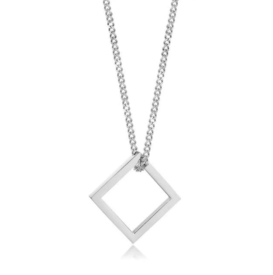 Industrial Necklace - Silver Square