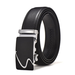 Frost Black Leather Belt - Silver Swoosh