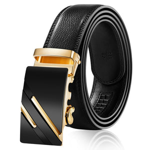 Frost Black Leather Belt - Gold Lines