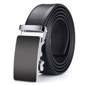 Frost Black Leather Belt - Silver Smooth