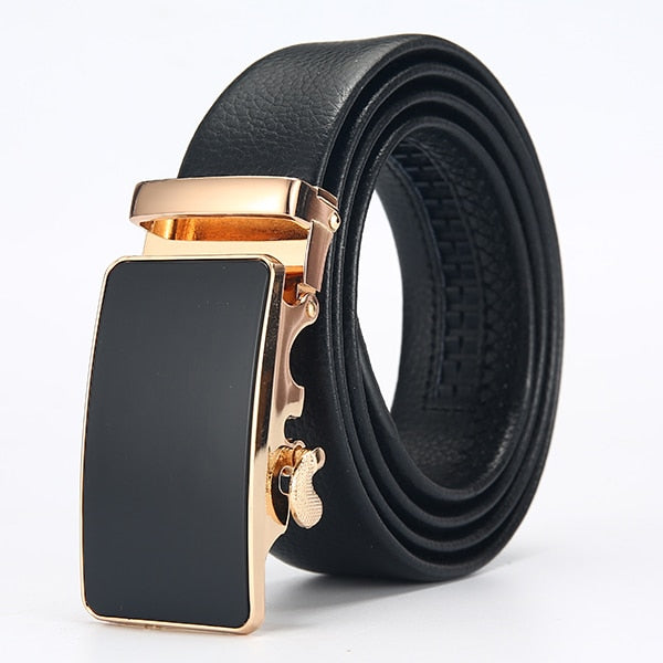 Frost Black Leather Belt - Gold Smooth