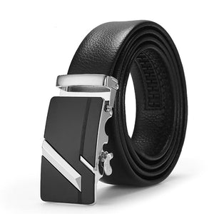 Frost Black Leather Belt - Silver Slash