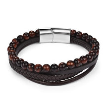 Load image into Gallery viewer, Magnetic Stone Bracelet - Multi-Band Dark Brown