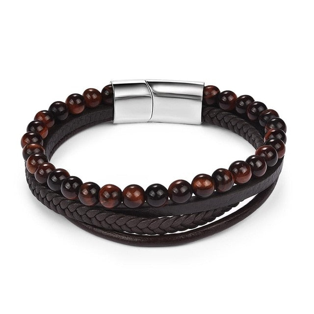Magnetic Stone Bracelet - Multi-Band Dark Brown