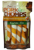 Pork Chomps Large Twists - Peanut Butter