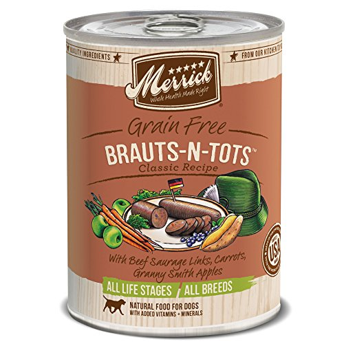 Merrick Classic Grain Free Brauts-N-Tots Dog Food, 13oz. 12 Pack