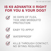 K9 Advantix II Flea, Tick and Mosquito Prevention for Medium Dogs, 11 - 20 lb, 4 doses