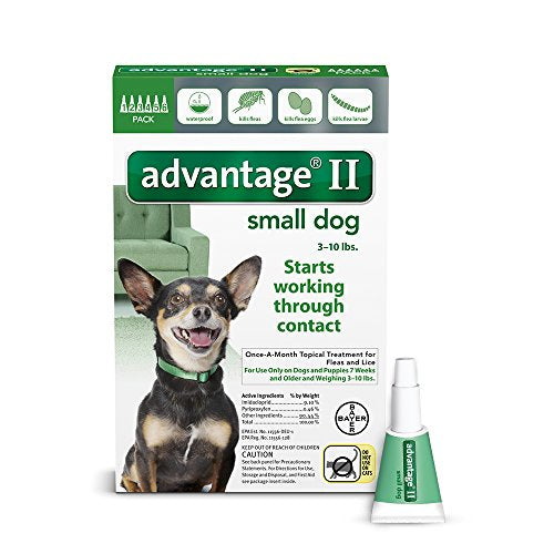 Advantage II Flea and Lice Treatment for Small Dogs, 3 - 10 lb, 6 doses