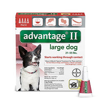 Advantage II Flea and Lice Treatment for Large Dogs, 21 - 55 lb, 4 doses