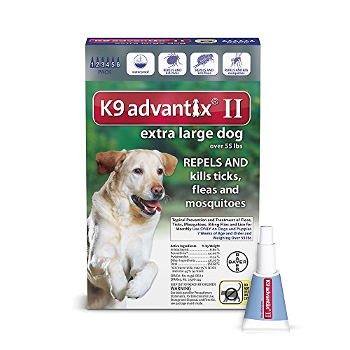 K9 Advantix II Flea, Tick and Mosquito prevention for XLarge Dogs, over 55 lbs,  6 doses