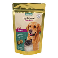 NaturVet Hip & Joint Soft Chews Plus Omegas for Dogs and Cats, 120ct